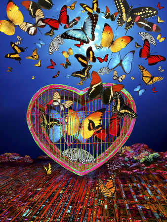 A flight of butterflies surrounding the caged ones